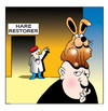 Cartoon: hare restorer (small) by toons tagged hair replacement bald wigs restorer piece barber hairdresser