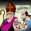 Cartoon: Holier than thou (small) by toons tagged tattoo,parlour,holier,than,thou,bishop,clergy,cardinal,rightious
