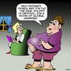 Cartoon: I blame global warming (small) by toons tagged global,warming,obesity,overweight,fat,beer,gut