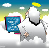 Cartoon: knee mail (small) by toons tagged email,laptops,computers,god,heaven,prayer,praying