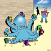 Cartoon: Multi tasking (small) by toons tagged octopus,begging,cash,broke