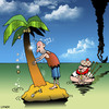 Cartoon: oh no (small) by toons tagged desert,island,bagpipes,scotland,kilt,music,band,ship,wreck