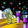 Cartoon: pay per view (small) by toons tagged space,program,nasa,telescope,astronaut,ship,rocket,moon,universe,money,pay,per,view,lookouts,panarama,big,bang,planets