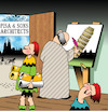 Cartoon: Pisa (small) by toons tagged pisa,architects,building,history,leaning,tower,italy