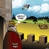 Cartoon: Pizza delivery (small) by toons tagged pizza,catapult,royalty,delivery,medieval,fast,food