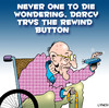 Cartoon: rewind button (small) by toons tagged rewind,button,aged,care,ageing,pensioners,old,people,wheelchair,remote,control,back,in,time