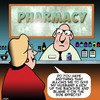 Cartoon: Side effects (small) by toons tagged pharmacy,drugs,side,effects,pharmacuticles,kick,up,the,bum