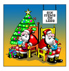 Cartoon: six items or less (small) by toons tagged christmas,xmas,santa,gift,giving,supermarket,kris,kringle,yuletide,clause