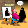 Cartoon: Smile (small) by toons tagged burka,caricatures,street,artist,burqa,smiling,religion,islam,portrait,painter