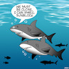 Cartoon: Sunscreen (small) by toons tagged sharks,feeding,frenzy,sunscreen,shark,attack,swimming
