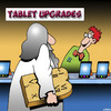Cartoon: Tablet upgrade (small) by toons tagged ten,commandments,ipads,moses,phone,upgrade,smart,phones,kindle,reader