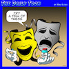 Cartoon: Theater masks (small) by toons tagged anti,depressants,theater,drugs,prescriptions,uppers,sad,unhappy