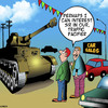Cartoon: Traffic pacifier (small) by toons tagged tanks,peak,hour,traffic,car,sales,pacifier,heavy