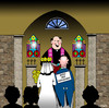 Cartoon: under new management (small) by toons tagged marriage,weddings,groom,bridesmaid,love,romance,matrimony,hitched,church,priest,bishop