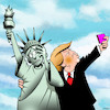 Cartoon: Unwanted selfie (small) by toons tagged donald,trump,statue,of,liberty,narcissam,selfies,usa