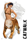 Cartoon: Catwalk (small) by toonsucker tagged catwalk model wild cat katze tiger mode fashion trend mutation tier girl show sexy