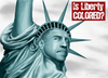 Cartoon: Is Liberty Colored? (small) by toonsucker tagged usa wahl election obama america amerika liberty politics politik vote peace change future bush statue hope