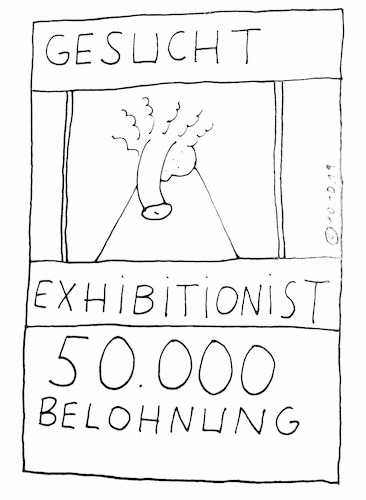 Cartoon: Exhibitionist (medium) by Müller tagged wanted,exhibitionist,steckbrief