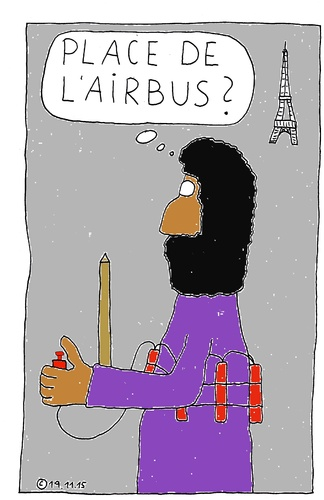 Cartoon: Place de la Airbus ? (medium) by Müller tagged paris,terrorist,airbus