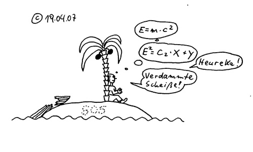 Cartoon: Robinson Archimedes Einstein (medium) by Müller tagged insel,robinson,archimedes,einstein,heureka