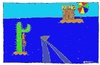 Cartoon: 2 Inseln (small) by Müller tagged robinson,inseln,bier,hai,islands,beer,shark