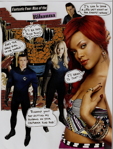 Cartoon: RIHANNA VS THE FANTASTIC FOUR (medium) by Toonstalk tagged rihanna,fantastic,four,mr,human,torch,thing,invisible,girl,comics,music,collage,singer