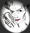 Cartoon: Bowie (small) by Toonstalk tagged david,bowie,glam,rock,ziggy,stardust,thin,white,duke,british,entertainer,singer,actor,microphone
