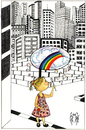 Cartoon: CHILDHOOD DREAMS (small) by majezik tagged child,metropol,city,rainbow