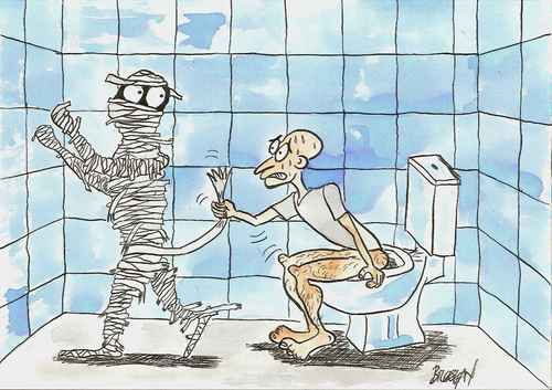 Cartoon: mummy in the toilet (medium) by bilgehananil tagged mumya,tuvalet,mummy,toilet