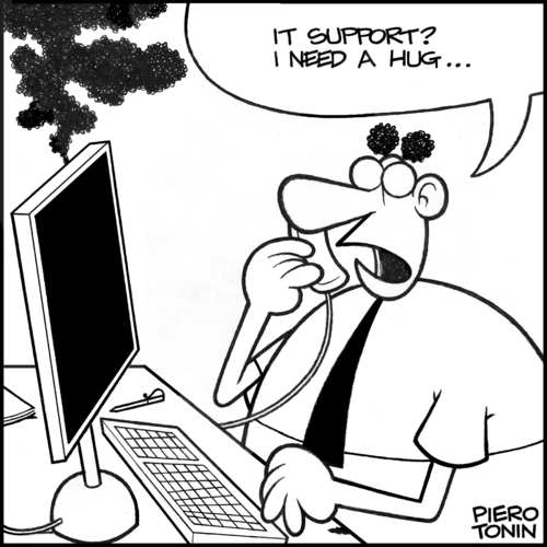 Cartoon: IT support... (medium) by Piero Tonin tagged technology,disks,disk,hard,crash,support,it,computers,computer,tonin,piero