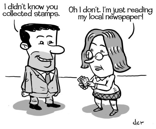 Cartoon: Whats a newspaper? (medium) by monsterzero tagged humor,newspaper,stamps