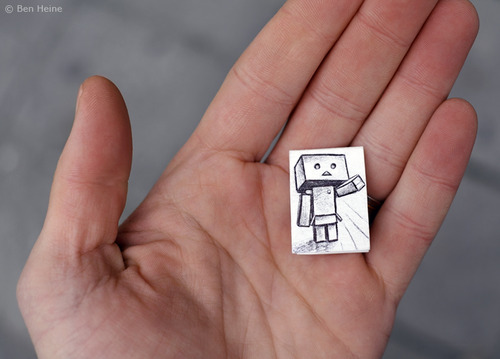 Cartoon: Be My Friend - 1 (medium) by BenHeine tagged art,be,my,friend,ben,heine,cute,danbo,danboard,japanese,manga,kaiyodo,miura,hayasaka,pencil,vs,camera,revoltech,robot,samsung,something,in,common,the,artistery,yotsuba,nature,autumn,fall,selective,color,red,opposition,friendship,curiosity,question