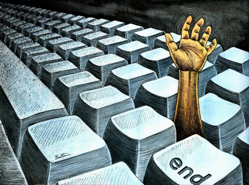 Cartoon: ICT Overdose (medium) by BenHeine tagged keyboard,clavier,ben,heine,touche,end,computer,ict,technologies,lost,die,hand,type,bras,main,fingers,doigts,taile,size,tackling,my,ordinateur,future,people,struggle,strive,write,communicate,poem,battre,robot,ship,puce,modern,peter,quinn,alphabet,hacker,ti