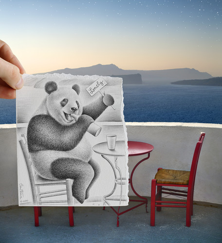 Cartoon: Pencil Vs Camera - 41 (medium) by BenHeine tagged imagination,camera,vs,pencil,reality,drawing,photography,series,hand,main,paper,papier,creative,panda,animal,wild,cute,alcoholism,drink,beer,wine,landscape,waterscape,dessin,sketch,croquis,fantasy,humor,table,chairs,chaises,greece,santorini,horizon,evening,soir,contrast,sea,mer,ocean,hold,alone,desperate,ivre,saoul,loneliness,sad,sadness,suicide,couple,love,amour,divorce,separation,sweet,mignon,extinction,expressive,art,kunst,theartistery,samsungimaging,benheine