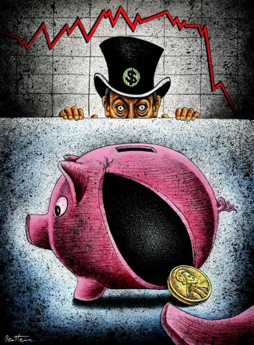 Cartoon: Penniless (medium) by BenHeine tagged penniless,ben,heine,linda,settles,poem,cochon,economy,crash,crack,boursier,index,red,bank,banque,financial,crisis,hat,capitalism,war,usa,united,states,power,grant,table,fear,peur,wealth,poverty,money,argent,pauvrete,security,state,individu,marxism,stock,e
