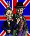 Cartoon: Tony and Winston (small) by BenHeine tagged tonyblair,winstonchurchill,england,greatbritain,uk,politics,british,politicians,caricature,drjekyll,mrhide,hat,office,politisch,realpolitik,