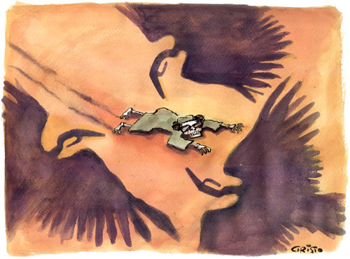 Cartoon: Vultures in the Libyan desert (medium) by Christo Komarnitski tagged moammar,gadhafi,libya,oil,war,europe,world