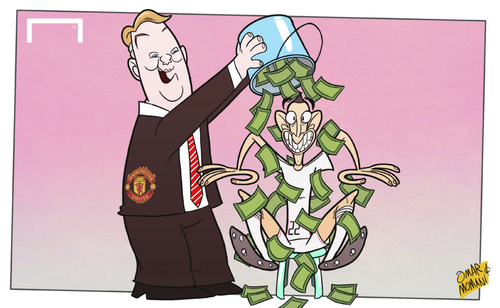 Cartoon: Di Maria Ice Bucket Challenge (medium) by omomani tagged di,maria,manchester,united,real,madrid,van,gaal