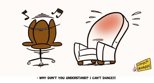 Cartoon: I cant Dance!!! (medium) by omomani tagged chair,sofa