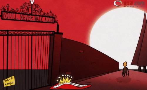 Cartoon: Kenny walks alone (medium) by omomani tagged dalglish,liverpool