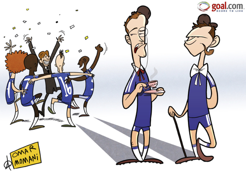 Cartoon: Lampard n Terry refuse to boogie (medium) by omomani tagged ashley,cole,brazil,chelsea,david,luiz,england,lampard,meireles,portugal,premier,league,ramires,terry,villas,boas