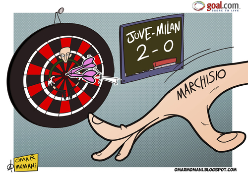 Cartoon: Marchisio and darts playing (medium) by omomani tagged abbiati,ac,milan,italy,juventus,marchisio,serie