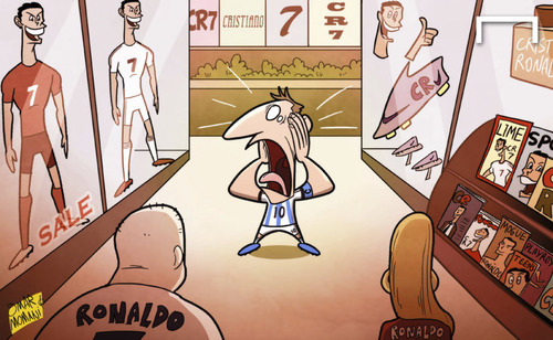 Cartoon: Messi left in Ronaldo shadow (medium) by omomani tagged argentina,barcelona,cristiano,ronaldo,messi,portugal,real,madrid