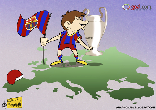 Cartoon: Messi the conquerer (medium) by omomani tagged messi,barcelona,la,liga,champions,league,spain,argentina