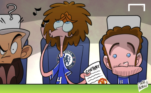 Cartoon: Moyes tries to sneak Mata away (medium) by omomani tagged chelsea,david,luiz,juan,mata,manchester,united,mourinho,moyes