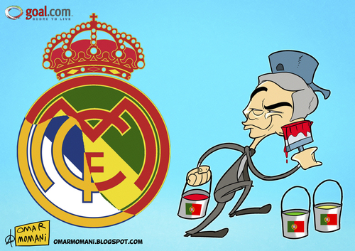 Cartoon: Paint it Portuguese (medium) by omomani tagged mourinho,real,madrid,portugal,spain,la,liga,soccer,football,cartoon