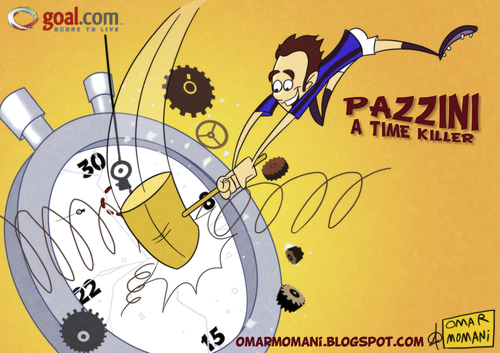 Cartoon: Pazzini a time killer (medium) by omomani tagged pazzini,inter,milan,internazionale,cesena,serie,italy,clock,stop,watch,extra,time,football,soccer,cartoon,caricature