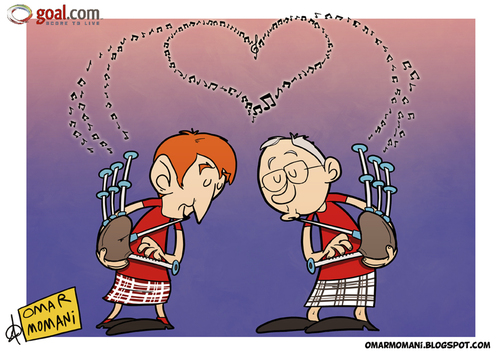 Cartoon: Scottish Draw (medium) by omomani tagged bagpipes,dalglish,england,ferguson,liverpool,manchester,united,premier,league,scotland