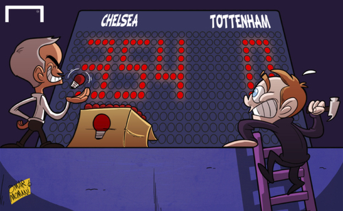 Cartoon: Sherwood hopes Spurs switch (medium) by omomani tagged chelsea,mourinho,premier,league,tim,sherwood,tottenham