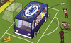 Cartoon: Chelsea bus arrives at Camp Nou (small) by omomani tagged barcelona,cech,champions,league,chelsea,di,matteo,drogba,iniesta,john,terry,messi,xavi